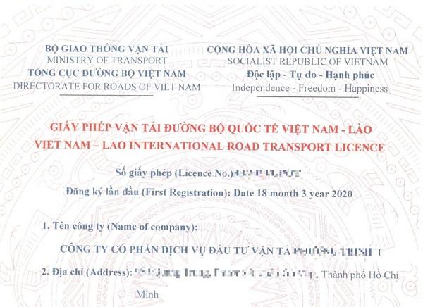 giấy phép vận tải quốc tế Viet Lao